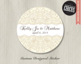 Custom Wedding Stickers - Vintage Lace Wedding Labels