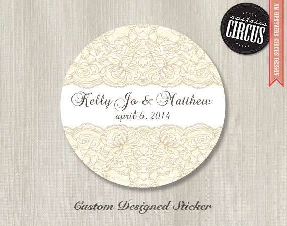 Wedding Gift Sticker Template : Custom Wedding Stickers Vintage Lace Wedding Labels