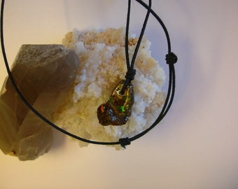 Bright Gemmy Red, Green and Gold Color Ammolite from Utah Deposit, Mens Cord Necklace with Adjustable Black Necklace Cord 243