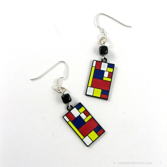 Mod Earrings (Red, Blue, Yellow) - Mondrian for Artists
