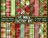 Christmas Plaid Digital Paper Pack Collection-Download and Print (TIFNYC-XMASPP-3)