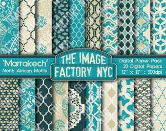 Marrakech North African Motifs Digital Mega Paper Pack Collection (TIFNYC-NAPP-2) for all paper crafts-Download & Print