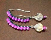 Citrine & Pink Jade Wire Wrapped Earrings - Strawberry Lemon Sorbet (Reduced)