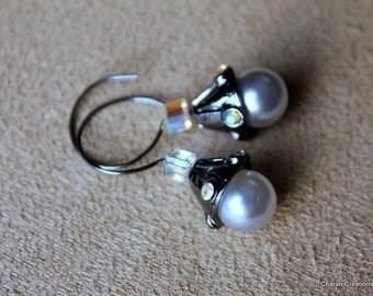AB Crystals and Pearl Gunmetal Minimalist Open Hoop Earrings