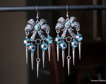 Lovely Antiqued Silver Blue Iridescent Crystals Bows and Spike Chandelier Earrings