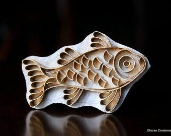 Handmade Indian Wood and Brass Textile Stamp- Fish