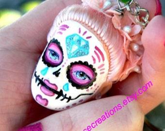 Sugar Skull, Day of the Dead Doll Head, Keychain - Custom Order Doll of Your Choice - Gothic Lolita