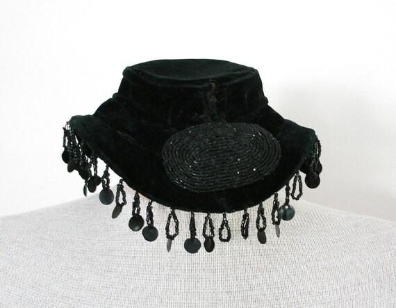 Vintage Victorian Edwardian Steampunk Black Tilt Topper Velvet Hat with Black Beads and Fringe
