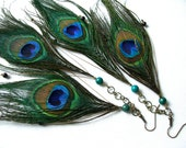 double feather peacock earrings with natural stone beads and beautiful findings