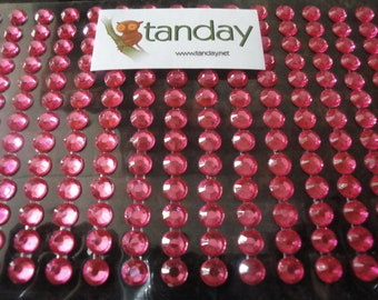 Tanday Fuchsia/Hot Pink Decorative Rhinestone Stickers 221 pcs