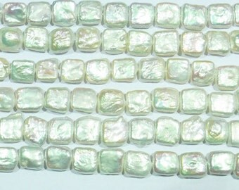 """Freshwater Pearl Beads Genuine Natural Pearls 10-11mm Gorgeous Baroque square white 15""""L 6044 Wholesale Pearls"""
