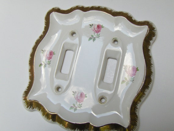 Antique Light Switch Cover  Porcelain Switch Plate Roses