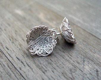 Silver stud earrings - Noodles
