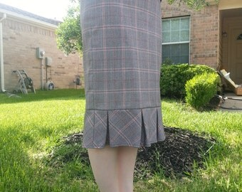 Wool Plaid Pleated Pencil Skirt