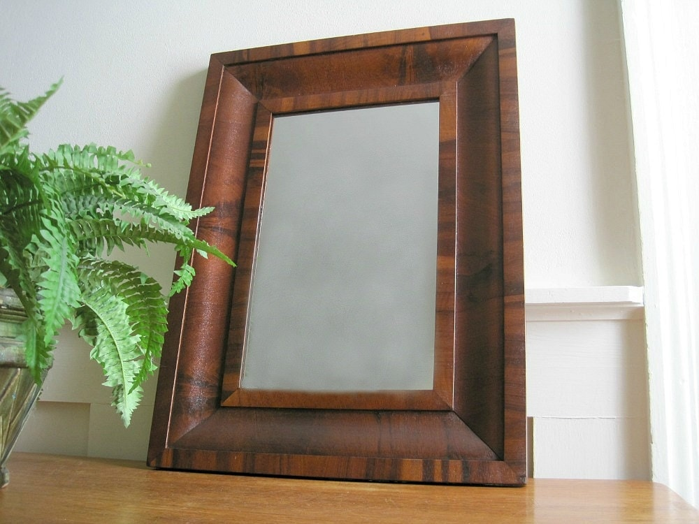 Antique Victorian Wall Mirror Mahogany Ogee Frame
