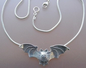 Bat Pendant - sterling silver necklace