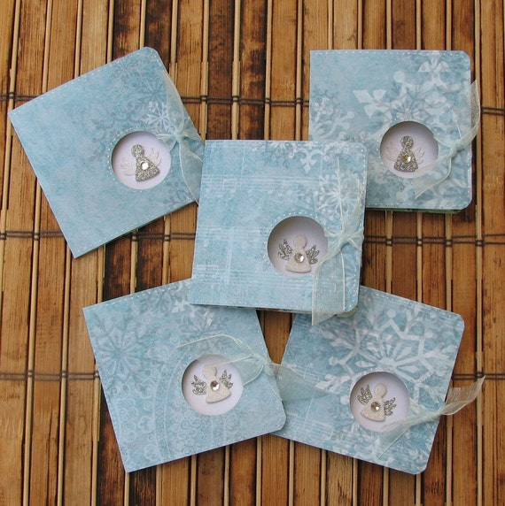 Christmas mini cards gift tags angel blue silver green set of 5