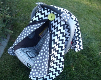 Carseat Canopy Chevron Lime Button REVERSABLE Universal