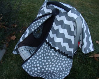 Carseat Canopy Boy Chevron FREESHIPPING Code