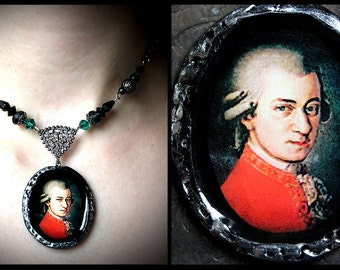 Mozart polymer clay pendant necklace, composer, music, romantic, glass beads blue green, filigree, gunmetal, antiqued, classical, Amadeus