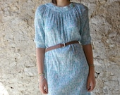 Vintage 70s french crinkle cotton blue dress
