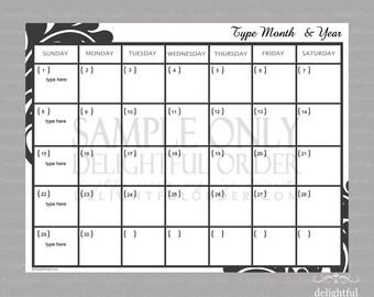 Editable Monthly Calendar  - (1) PDF Printable File - Instant Digital Download