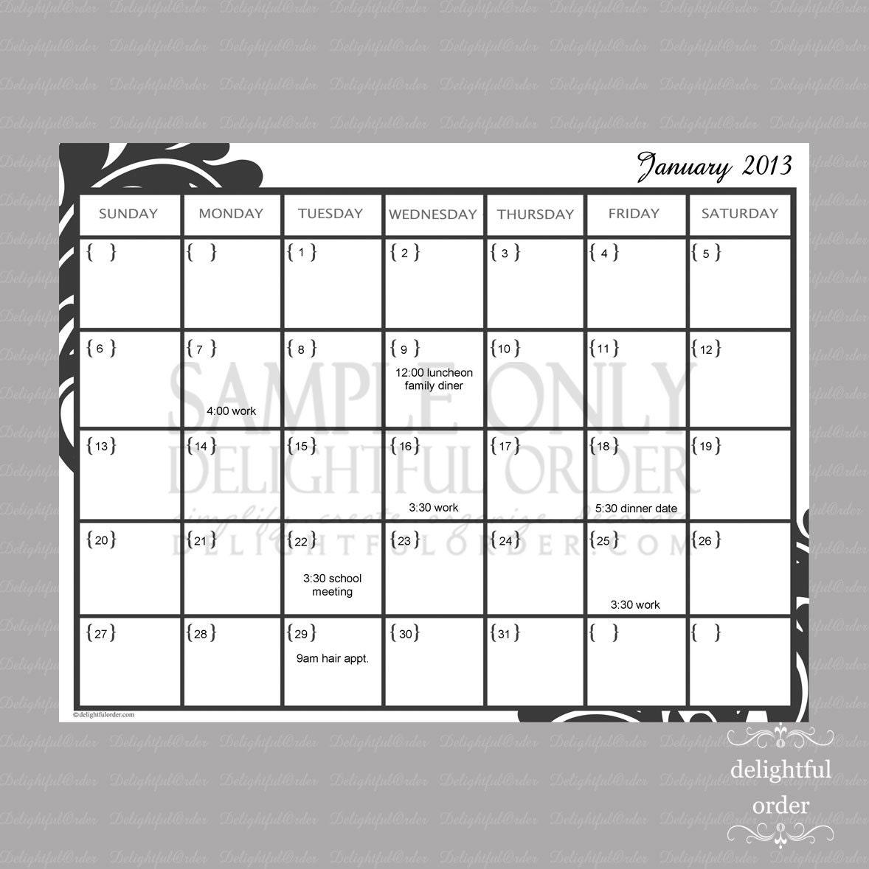 Calendar Monthly Editable : Editable monthly calendar pdf printable by delightfulorder