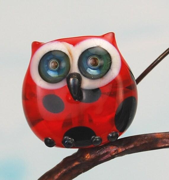 Owl bead.  Handmade lampwork glass bead owl pendant.