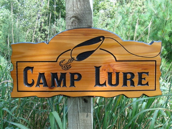 """Personalized Wood Signs - Custom Carved Cedar Signs - Wooden Cabin Signs - Routed Wood Signs - 22"""" x 10.25"""""""