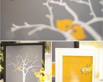 Love Bird Wedding Tree | Guest Book Alternative | Fingerprint Wedding Tree | Gray and Yellow Wedding Decor | Guest Book Wedding Poster