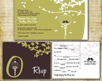 Custom Love Birds in a Cage Wedding Invitation Suite - SAMPLE PACK