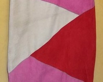 Vintage 80s Cache colorblock skirt goat skin suede 40 s pink red  28 waist