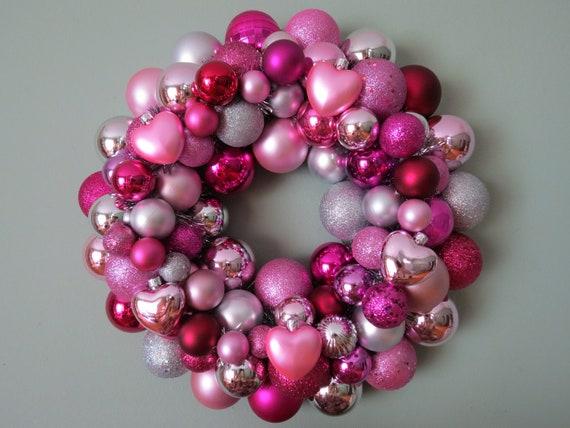 PINK SILVER Magenta VALENTINE'S Ornament Wreath