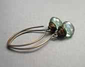 Green Gemstone Earrings, Quartz Wire Wrapped Gemstone Earrings in Antique Brass, Teal Green Stone Earrings