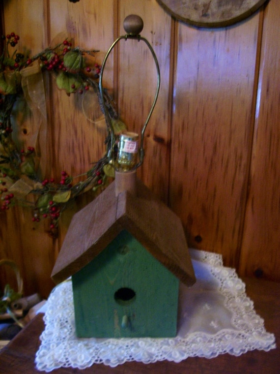 Avery Wall Hanging Birdhouse Lamp : Wood Bird House Electric Lamp Light Vintage by Thecountrylampshop