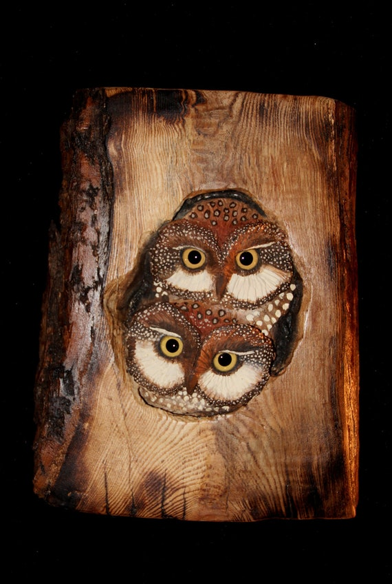 Wood Carving Owls In Maple Original Hand Carved By