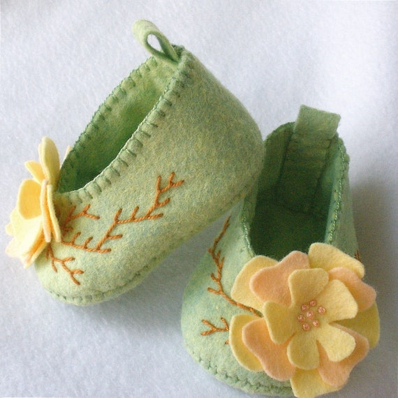 Felt Baby Booties Hand Stitched Pale Green Peach and Yellow Flower Blossoms