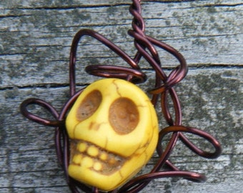 Day of the Dead Wire Wrapped Caged Carved Skull Magnesite Necklace. Yellow Carved Skull Magnesite Pendant. ON SALE WAS 12.00