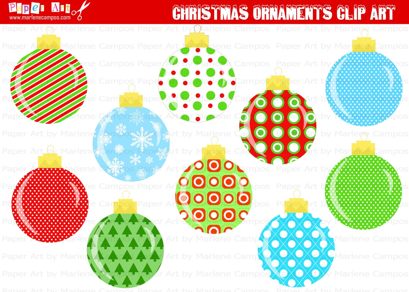 Instant download printable christmas ornaments clip art for Art for decoration and ornamentation