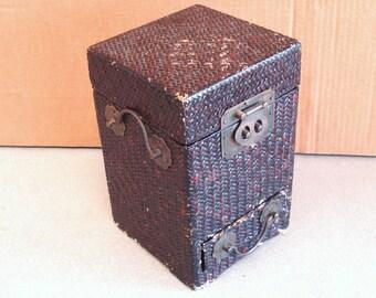 Wicker Laid on Wood  Wooden Jewelry Box Dresser Top.