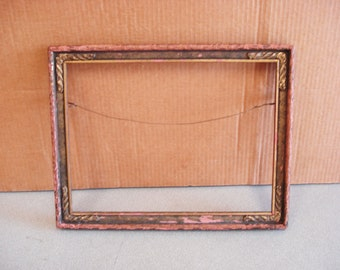 Vintage Wooden Wood With Some Chalk Ware Picture Painting Frame.