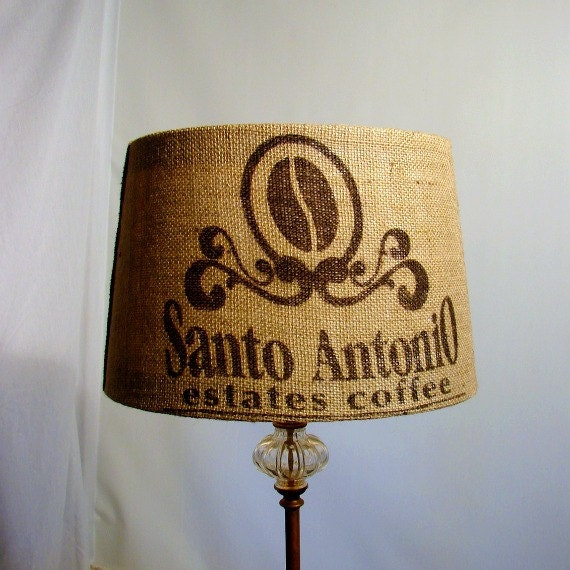 Burlap Coffee Sack Lamp Shade Eco Home Upcycled Industrial