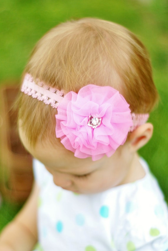 hair bow flower clip ...pink  infant head band.. baby headband... lovely hairbow for baby, toddler and little girls