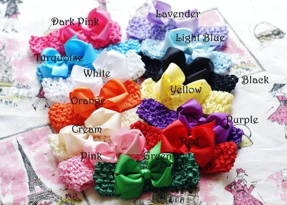 hair bow set/ 4 small HAIR BOWS/ Baby hairbow set/ 4 infant headbands/ 4 hair bows/ Baby shower gift/ baby bow set/ head bands