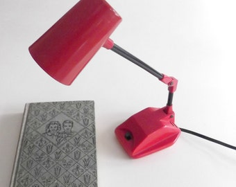 Vintage Desk Lamp 1970s Red Hi-Intensity Radio Shack Student Office Back To School