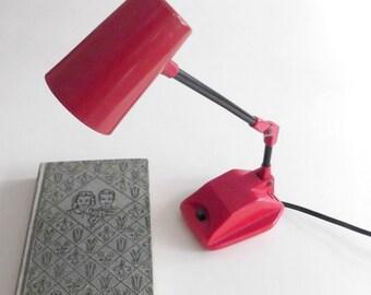 Vintage Desk Lamp 1970s Red Hi-Intensity Radio Shack Student Office Back To School