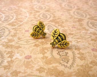 Yellow Bee Earrings, Bee Post Earrings, Bee Stub, Garden Jewelry