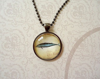Dolphin Necklace, Dolphin Round Glass Necklace, Ocean Dolphin Animal Necklace