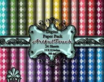 Digital Paper Rainbow Argyle Digital Scrapbook Paper Pack 24 Rainbow Background  12 X 12 300 dpi,  INSTANT DOWNLOAD