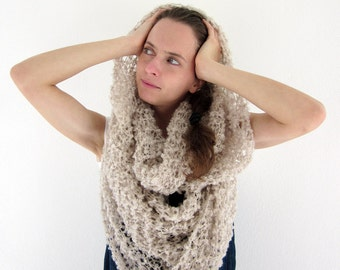 Boucle hand knit loop cowl scarf, infinity scarf in ecru, cream
